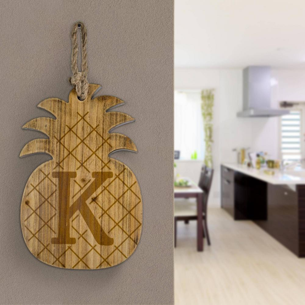 Wood Pineapple Hanging Initial Wall Letter K Wall Decor Number