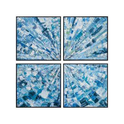 """37 in. x 37 in. """"Radial"""" Hand Painted Framed Canvas Wall Art (Set of 4)"""