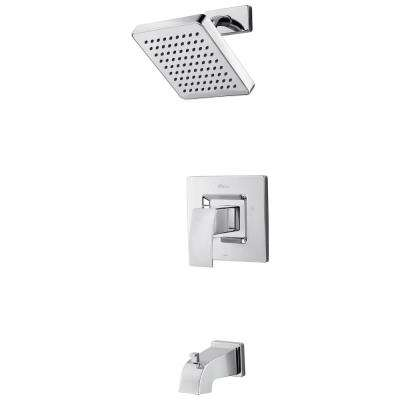 Kenzo 1-Handle 1-Spray Tub and Shower Trim Kit in Polished Chrome (Valve Not Included)