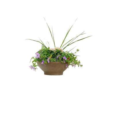 18 in. Chocolate Terra Cotta Clay Low Bowl Planter