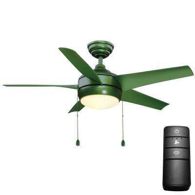 Windward 44 in. LED Green Ceiling Fan with Light Kit and Remote Control