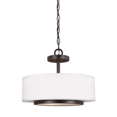 Nance 2-Light Heirloom Bronze Semi-Flushmount Convertible Pendant
