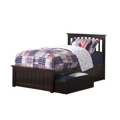 Mission Espresso Twin Platform Bed with Matching Foot Board with 2-Urban Bed Drawers