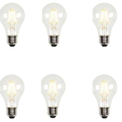 60W Equivalent Soft White A19 Dimmable Filament LED Light Bulb (6-Pack)