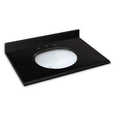 37 in. W Granite Vanity Top in Midnight Black with White Bowl and 8 in. Faucet Spread