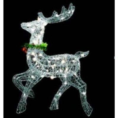 25 in lighted silver sisal prancing reindeer christmas outdoor decoration - Christmas Reindeer Decorations Outdoor
