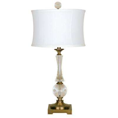 Crystal And Antique Brass Table Lamp With White Sewn Shade