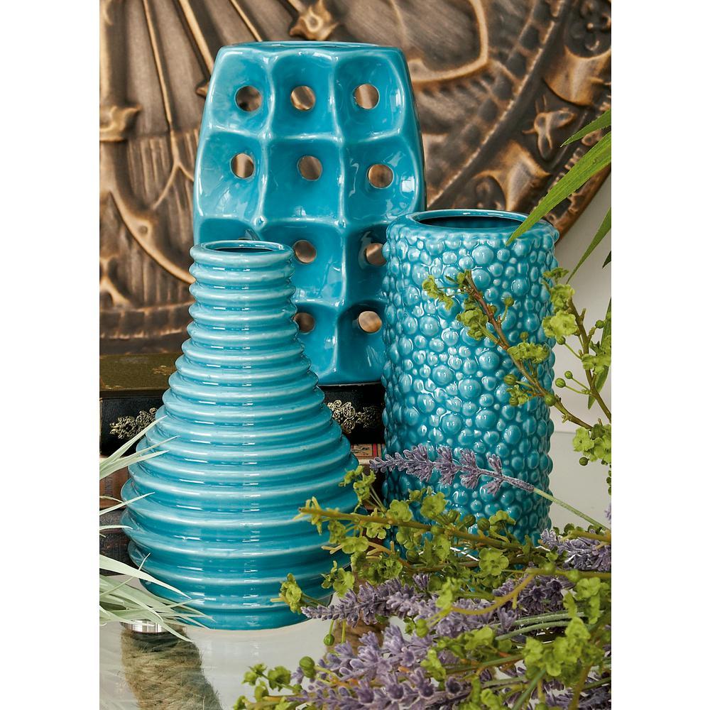 LittonLane Litton Lane 8 in. Modern Blue Ceramic Decorative Vases (Set of 3)