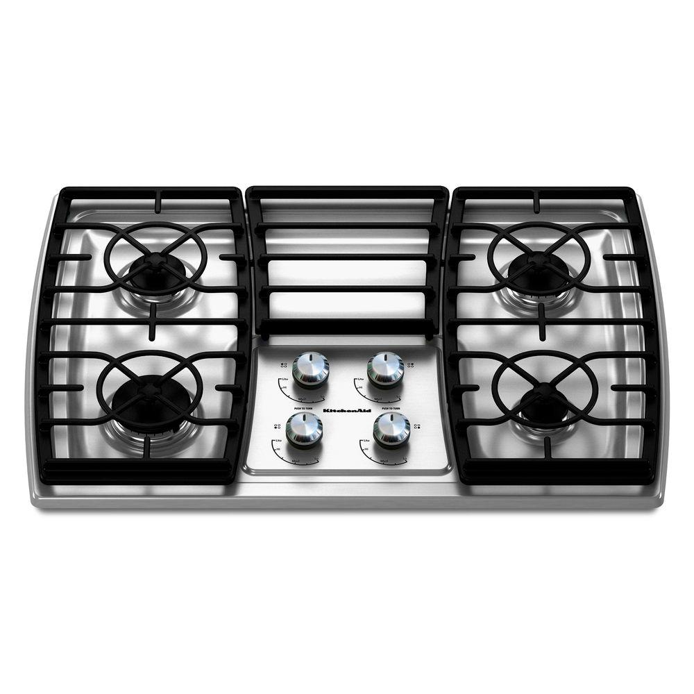 KitchenAid Architect Series II 30 in. Gas Cooktop in Stainless Steel with 4 Burners including 17000-BTU Professional Burner