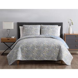 MHF Home Sally Reversible Blue Floral Twin Quilt Set