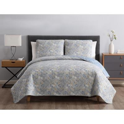 MHF Home Sally Reversible Blue Floral King Quilt Set