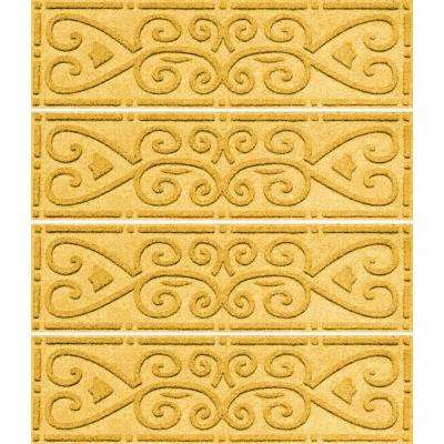 Yellow 8.5 in. x 30 in. Scroll Stair Tread Cover (Set of 4)