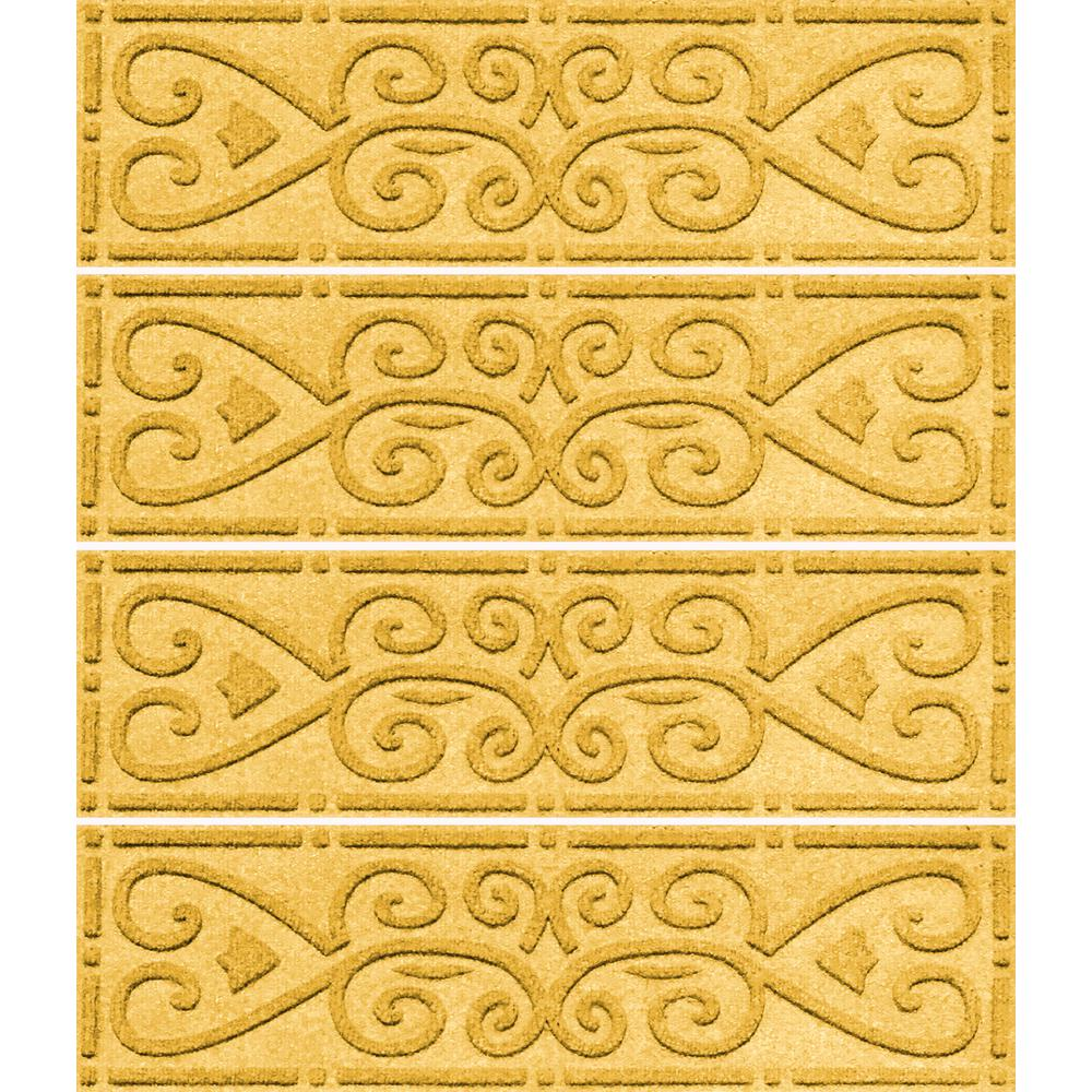 Aqua Shield Yellow 8.5 In. X 30 In. Scroll Stair Tread Cover (Set