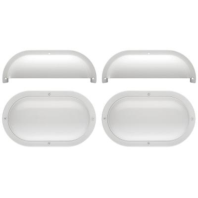 Shorebreaker Kit 10 in. White Oval LED Outdoor Coastal Bulkhead Light Wall Ceiling Includes 2 Fixtures - 2 Half Guards