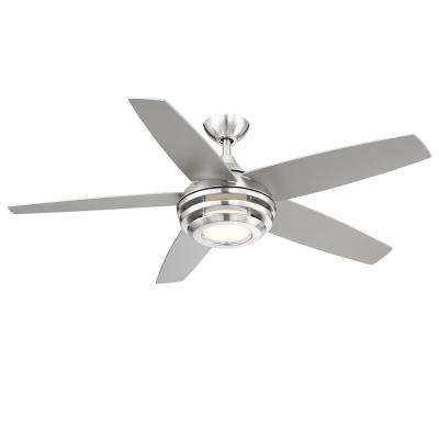 Petani 52 in. LED Integrated Light 5-Blade Brushed Nickel Ceiling with Remote Control