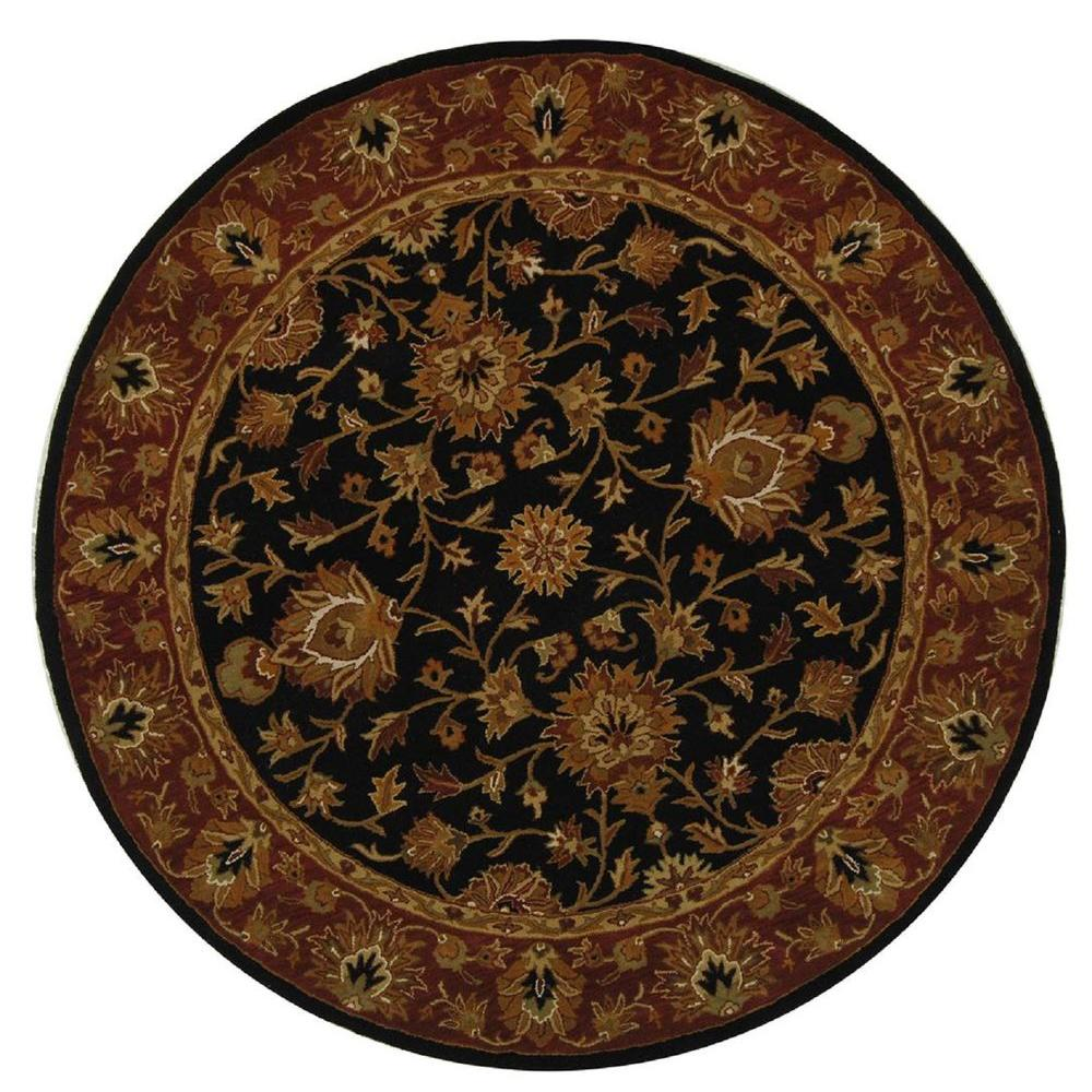 Heritage Black/Red 6 ft. x 6 ft. Round Area Rug