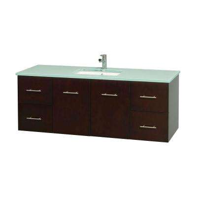 Centra 60 in. Vanity in Espresso with Glass Vanity Top in Green and Undermount Sink