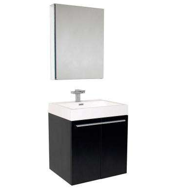 Alto 23 in. Vanity in Black with Acrylic Vanity Top in White with White Basin and Medicine Cabinet