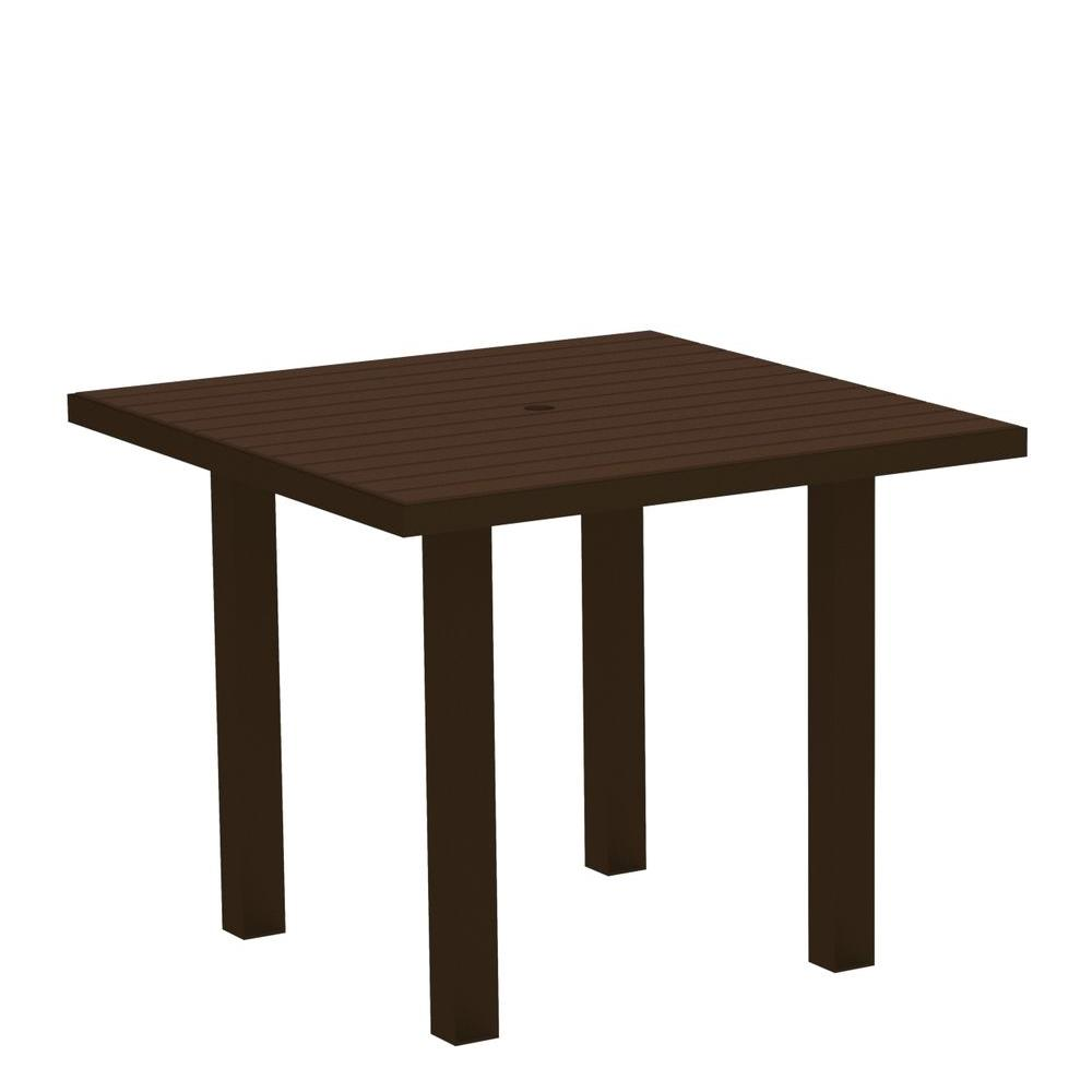 Euro Textured Bronze 36 in. Square Patio Dining Table with Mahogany