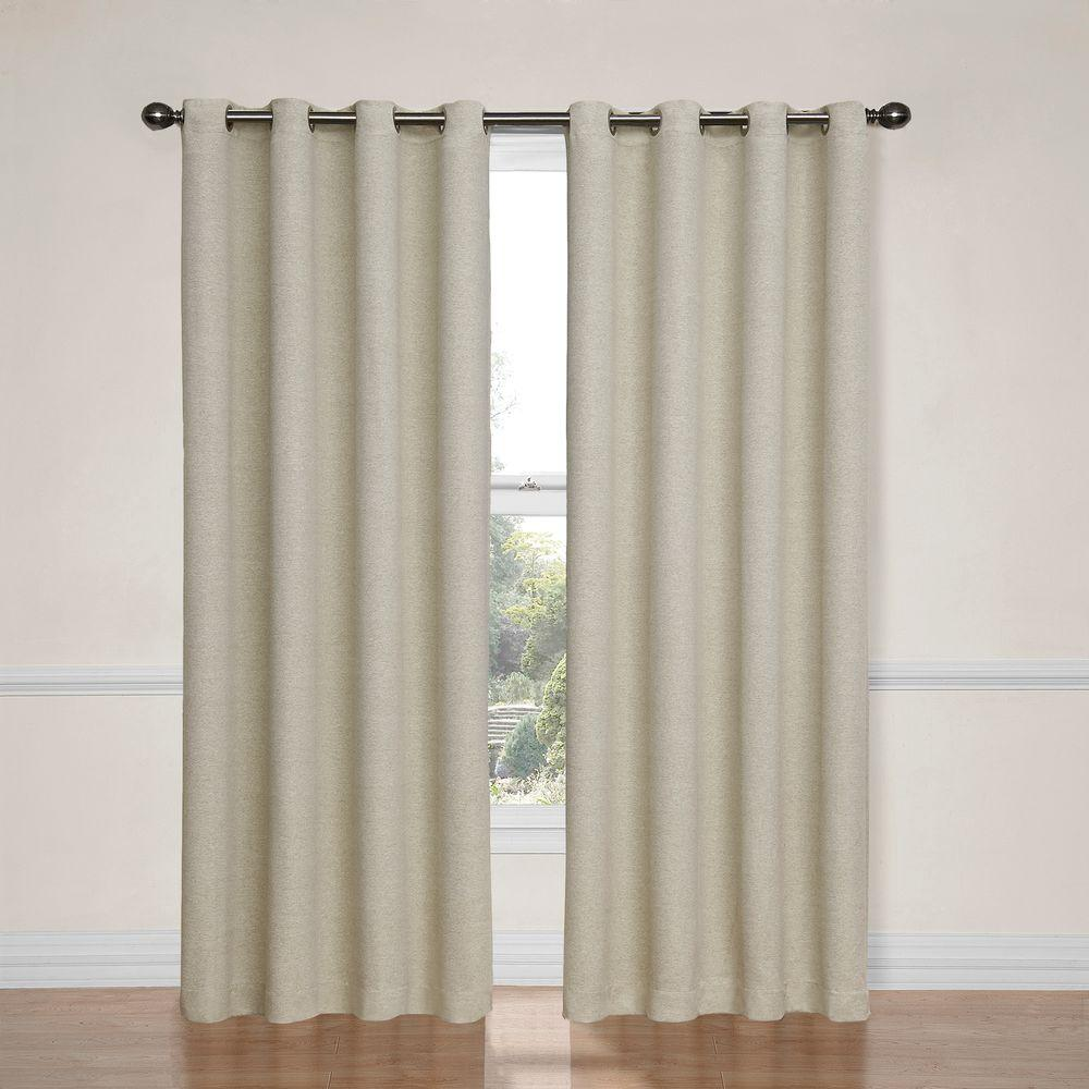 Eclipse Bobbi Blackout Ivory Polyester Curtain Panel, 63 in ...
