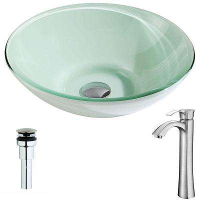 Sonata Series Deco-Glass Vessel Sink in Lustrous Light Green with Harmony Faucet in Brushed Nickel