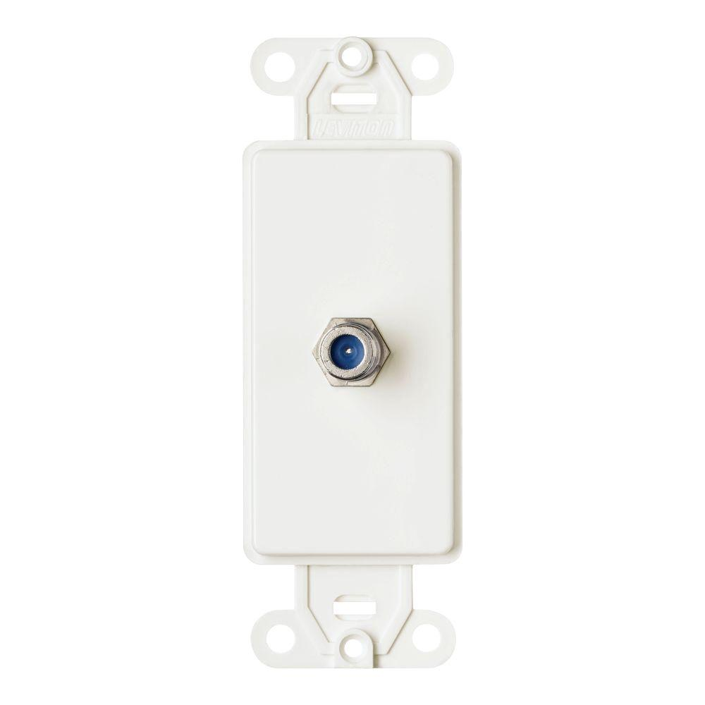 Leviton Decora Wall Jack with F-Type Coaxial Connector, White
