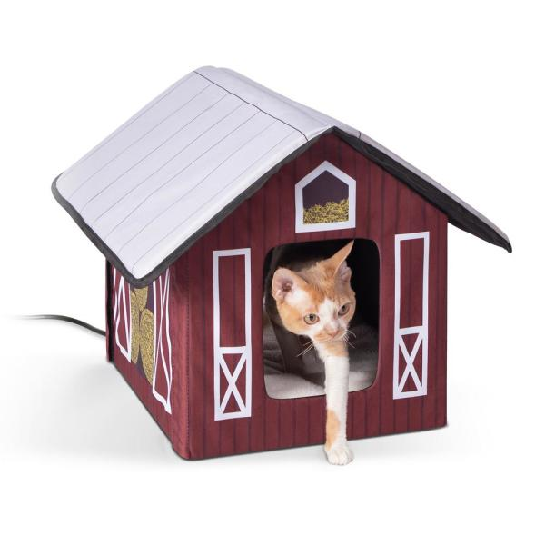 18 in. x 22 in. x 17 in. Outdoor Heated Kitty House-Barn Style