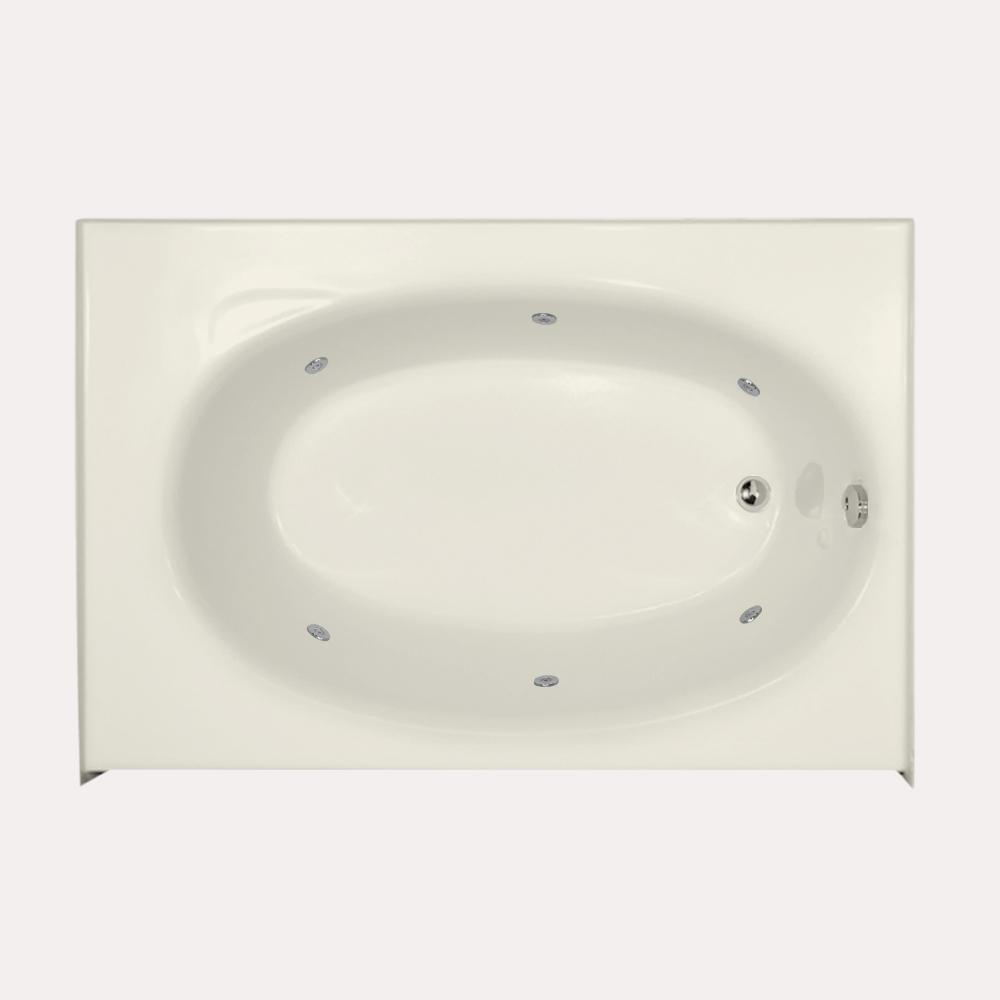 Kona 5 ft. Right Drain Whirlpool Tub in Biscuit