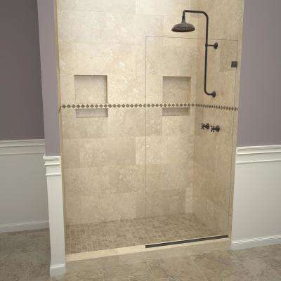 2000V Series 24 in. W x 76 in. H Semi-Frameless Fixed Shower Door in Oil Rubbed Bronze without handle