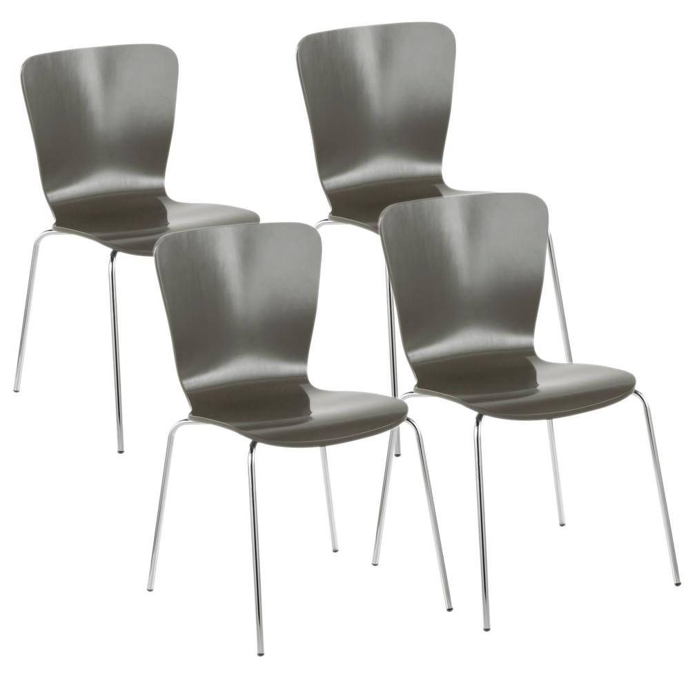 Lumisource bentwood stacker grey and chrome contemporary dining chair set of 4