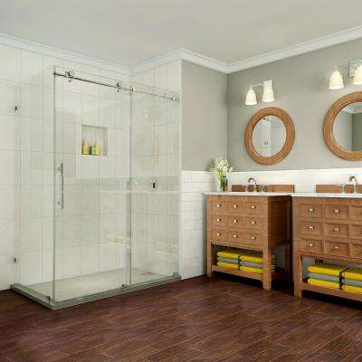 Coraline Pure 60 in. x 33.875 in. x 76 in. Completely Frameless Sliding Shower Enclosure in Polished Chrome