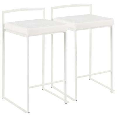 Fuji 26 in. White Stackable Counter Stool with White Mohair Cushion (Set of 2)