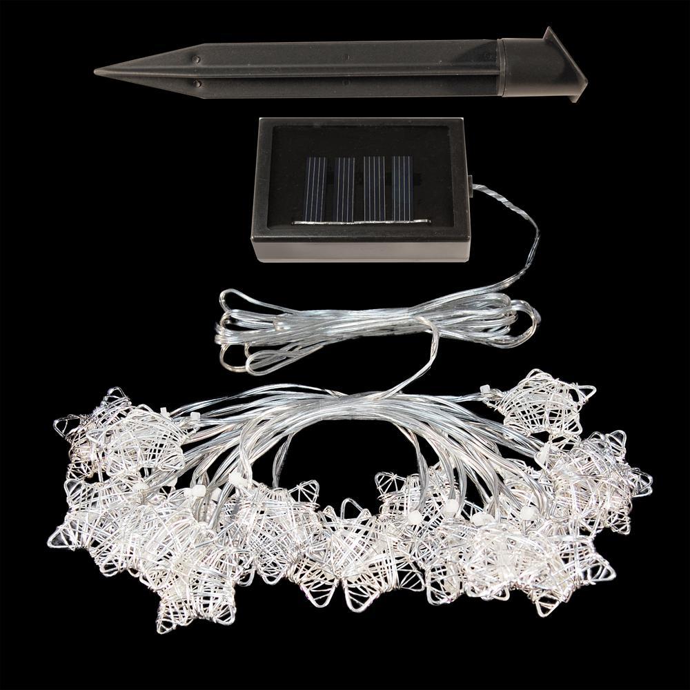 20 Light 16 Ft Silver Star Solar String Lights