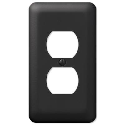 Declan 1 Gang Duplex Steel Wall Plate - Black