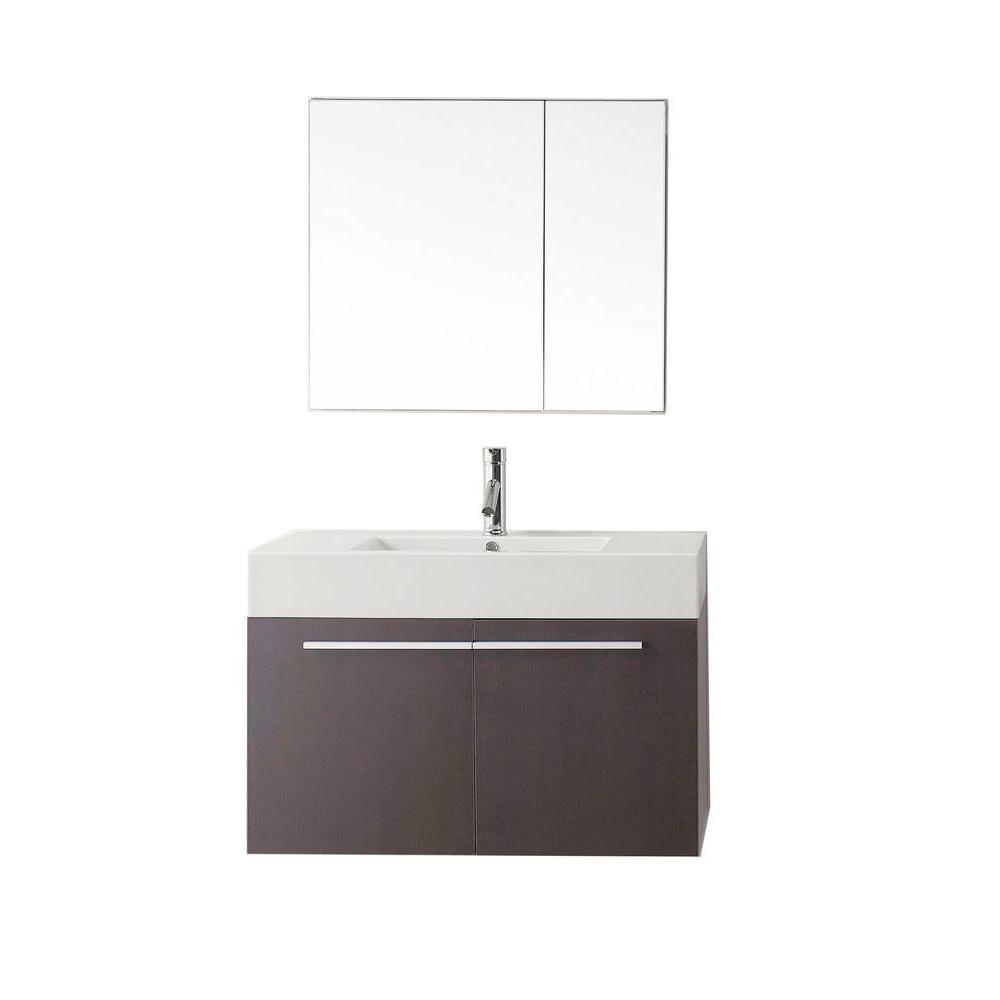 Virtu USA Midori 35.43 in. W Vanity in Wenge with Poly-Marble Vanity ...