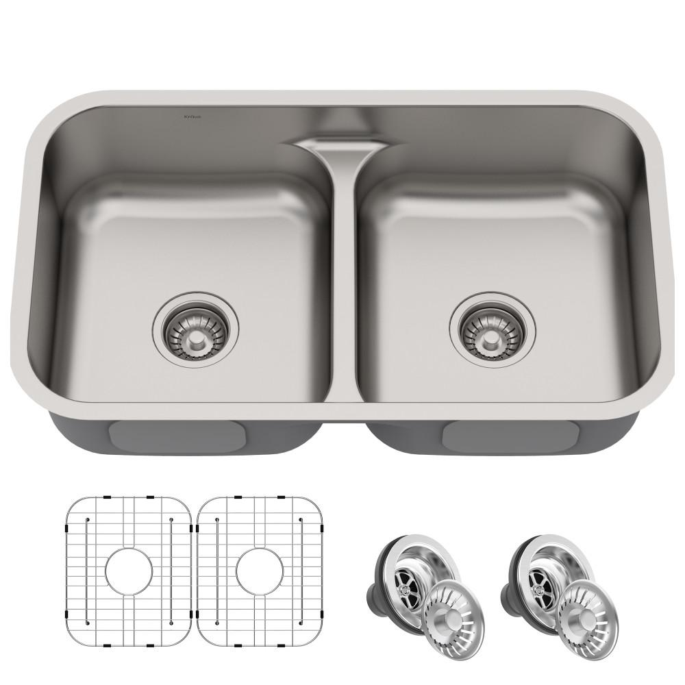 Premier Undermount Stainless Steel 32 In 16 Gauge 50 Double Bowl Kitchen Sink