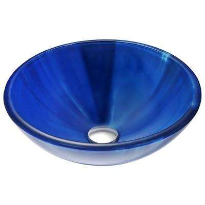 Meno Series Deco-Glass Vessel Sink in Lustrous Blue