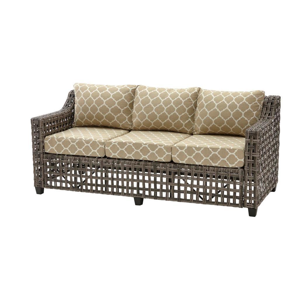Briar Ridge Brown Wicker Outdoor Patio Sofa with CushionGuard Toffee Trellis Tan Cushions