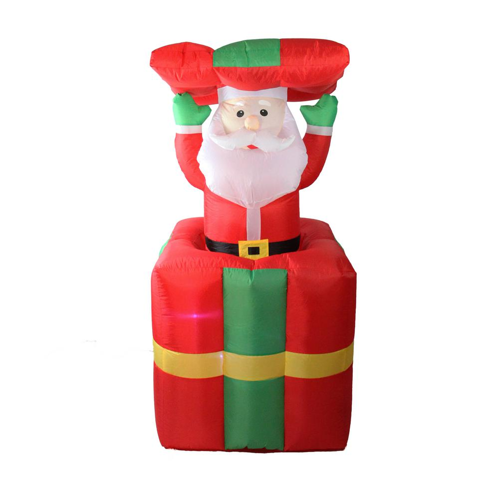 Lb International 5 Ft Lighted Inflatable Pop Up Santa Claus In Gift Box Christmas Outdoor Decoration