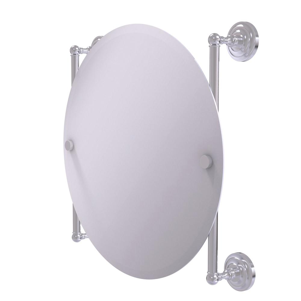 Allied Brass Que New Collection Round Frameless Rail Mounted Mirror in Satin Chrome