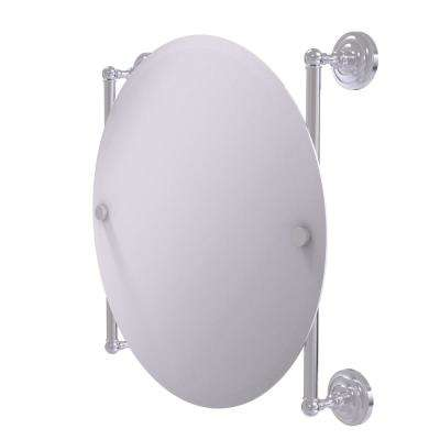 Que New Collection Round Frameless Rail Mounted Mirror in Satin Chrome
