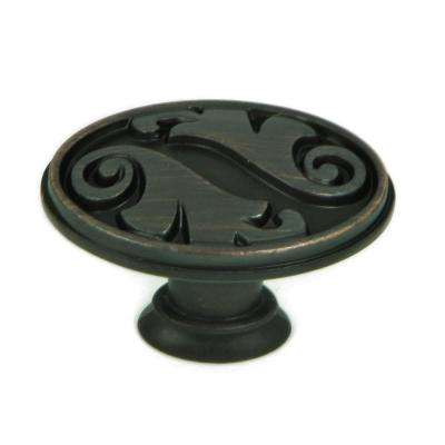 Oakley 1-1/2 in. Oil Rubbed Bronze Oval Cabinet Knob (25-Pack)