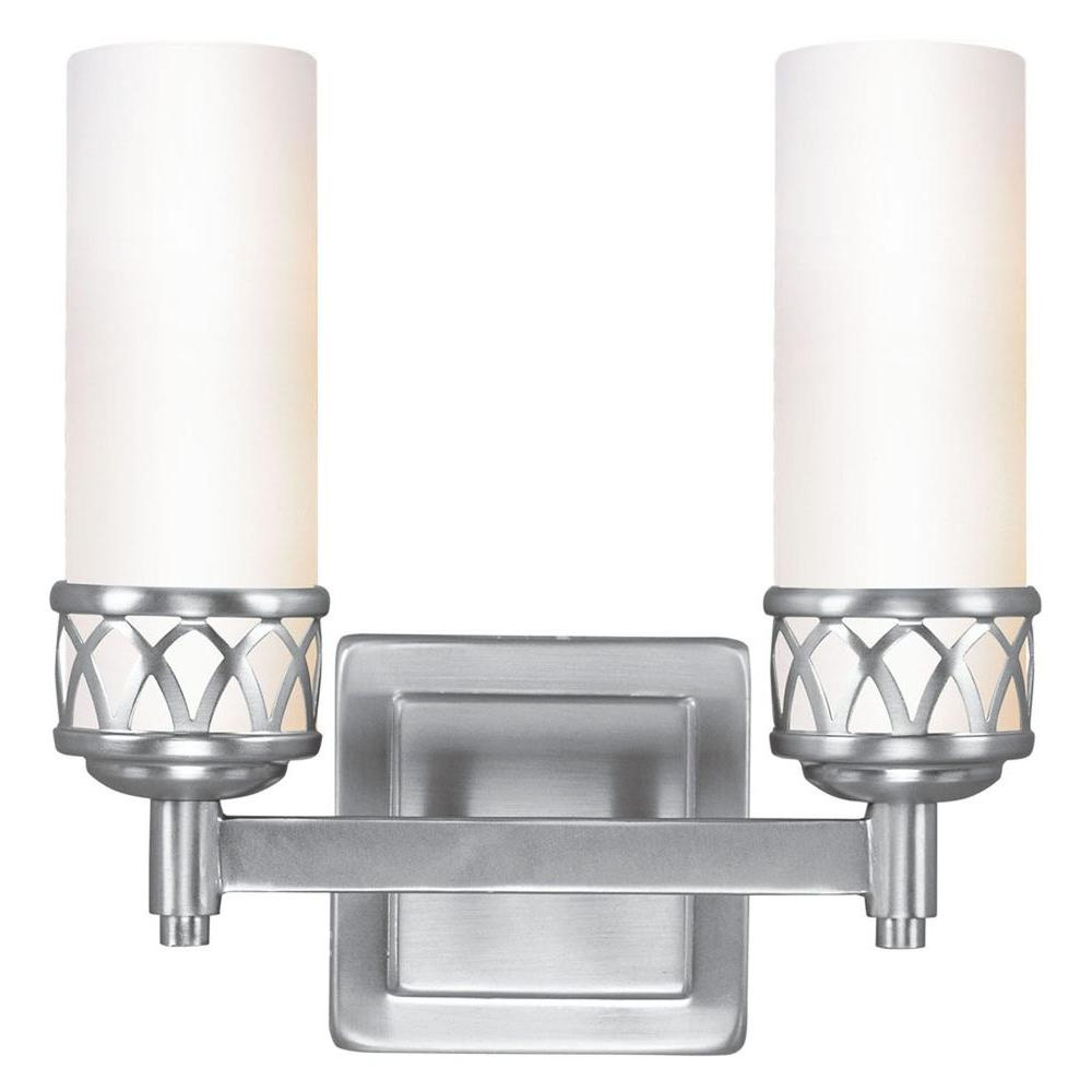 Livex lighting providence 2 light brushed nickel for Brushed nickel bathroom lighting fixtures