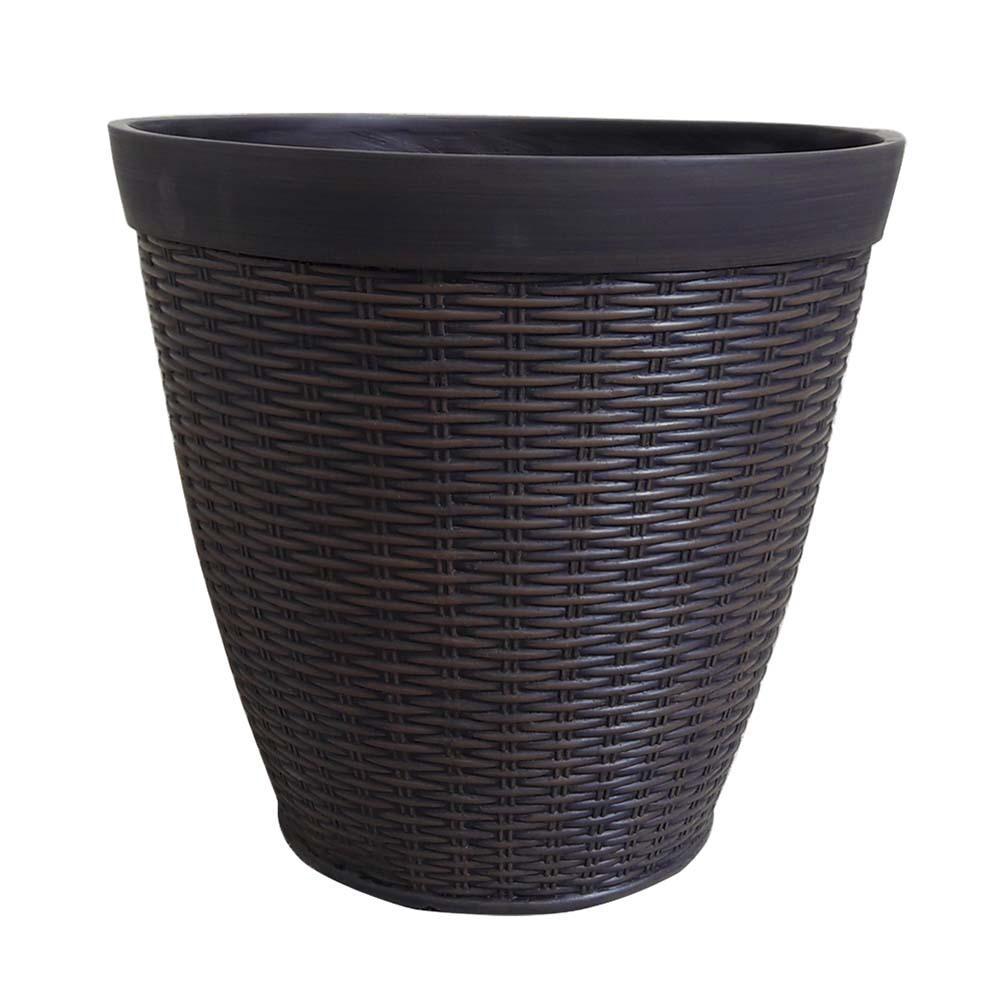Jamaica Wicker 15 in. Dia Dark Coffee Resin Planter