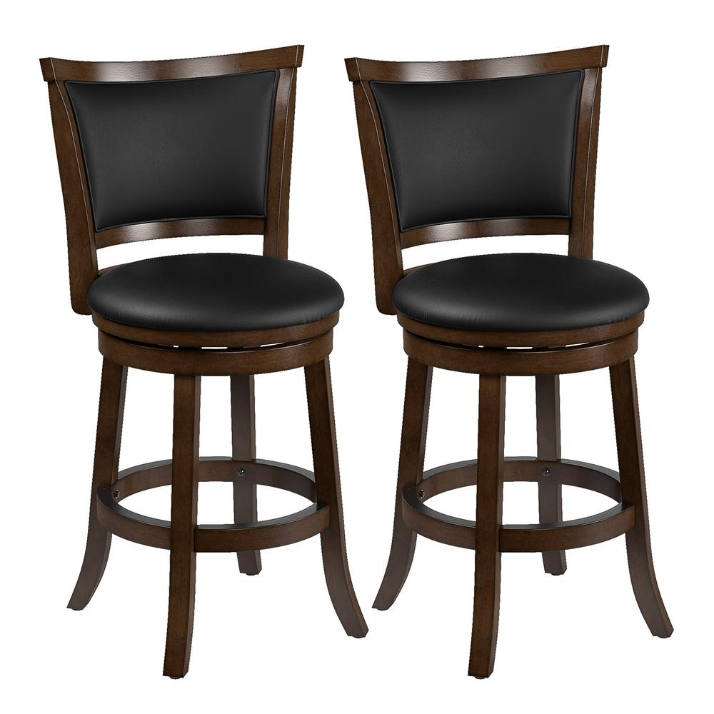 Corliving Woodgrove 25 In Counter Height Swivel Bar Stools With Black Bonded Leather Seat And Backrest Set Of 2 Dwg 104 B The Home Depot