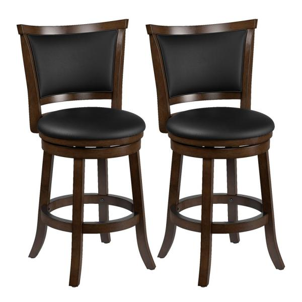 Woodgrove 25 in. Counter Height Swivel Barstools with Black  Bonded Leather Seat and Backrest (Set of 2)