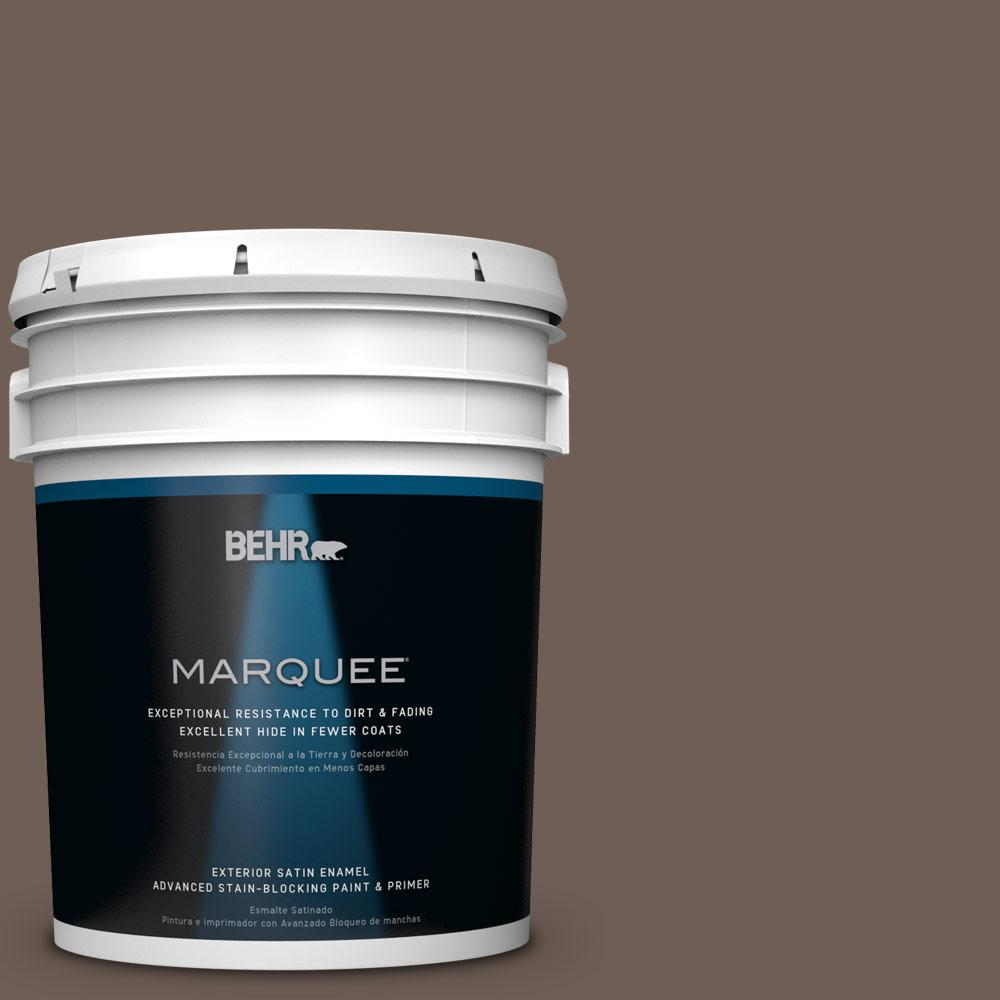 BEHR MARQUEE 5-gal. #N210-6 Swiss Brown Satin Enamel Exterior Paint