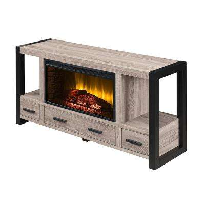 Salictus 54 in. Electric Fireplace TV Stand in Weathered Light Oak and Black