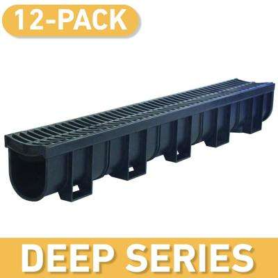 Deep Series 39.4 in. L x 5.4 in. W x 5.4 in. D Trench and Channel Drain Kit with Black Grates (12 Pack: 39.4 ft)