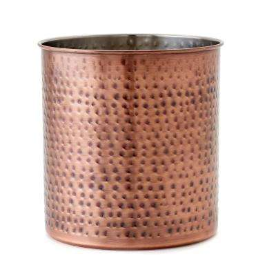 7-1/2 in. H x 7 in. Dia Jumbo Hammered Antique Copper Utensil Holder